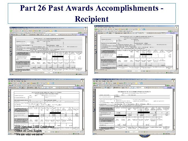 Part 26 Past Awards Accomplishments - Recipient 2009 National DBE Conference Office of Civil