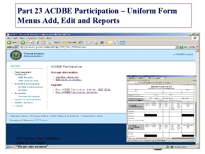 Part 23 ACDBE Participation – Uniform Form Menus Add, Edit and Reports 2009 National