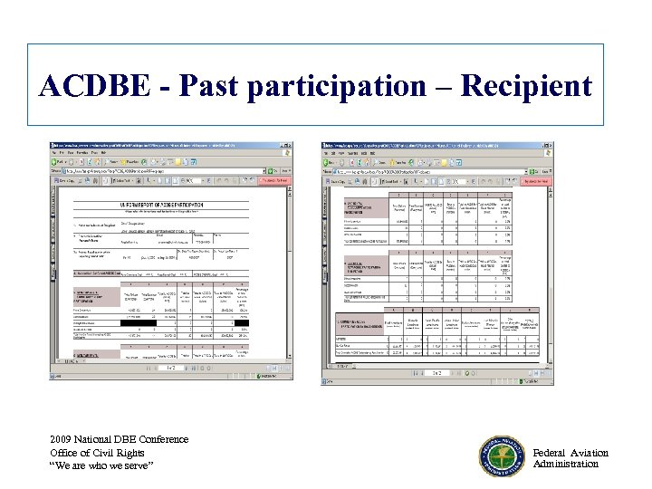 ACDBE - Past participation – Recipient 2009 National DBE Conference Office of Civil Rights