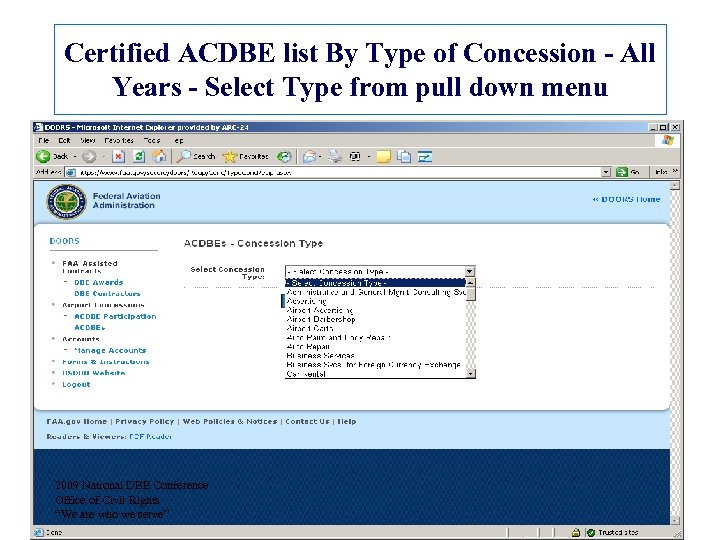 Certified ACDBE list By Type of Concession - All Years - Select Type from