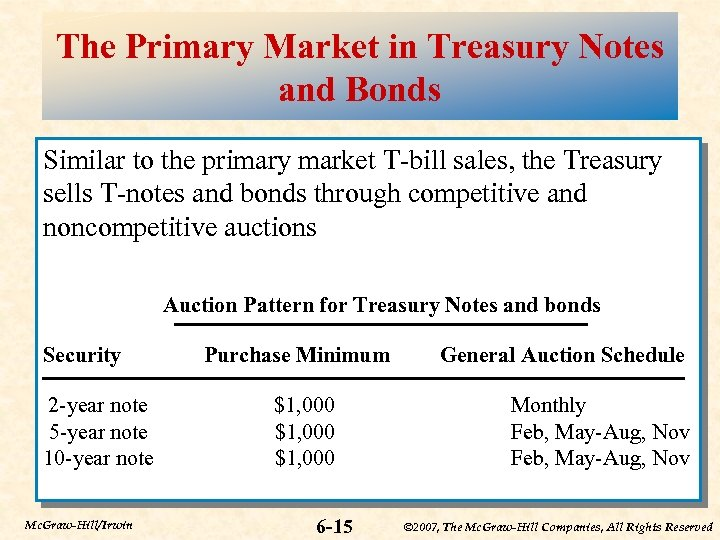 The Primary Market in Treasury Notes and Bonds Similar to the primary market T-bill