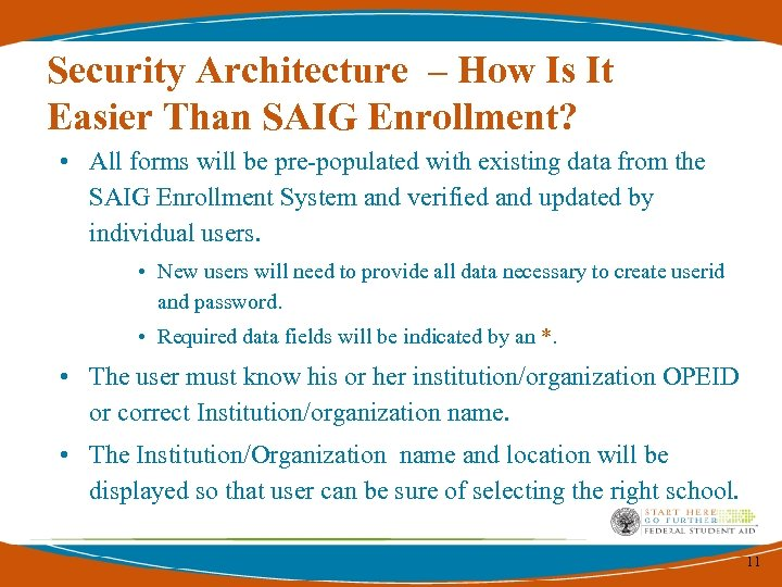 Security Architecture – How Is It Easier Than SAIG Enrollment? • All forms will