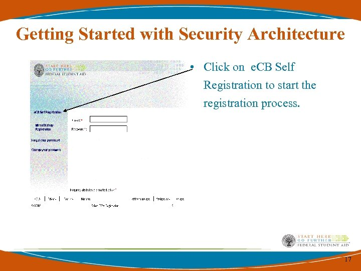 Getting Started with Security Architecture • Click on e. CB Self Registration to start