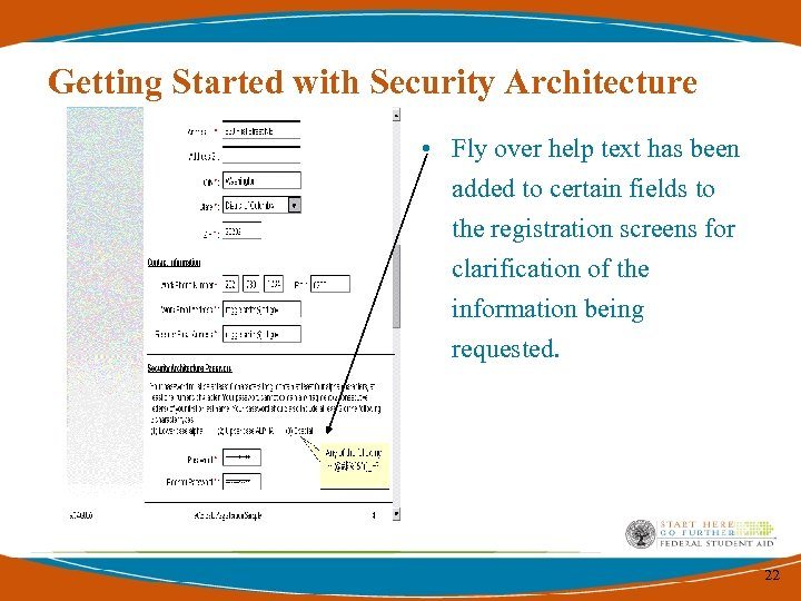 Getting Started with Security Architecture • Fly over help text has been added to