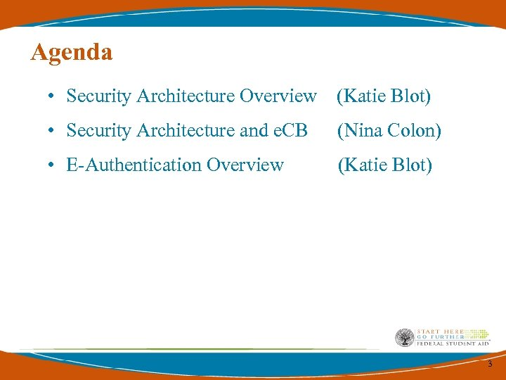 Agenda • Security Architecture Overview (Katie Blot) • Security Architecture and e. CB (Nina