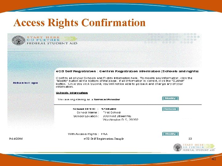 Access Rights Confirmation 41