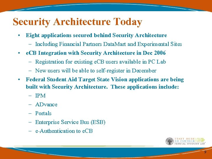 Security Architecture Today • Eight applications secured behind Security Architecture – Including Financial Partners