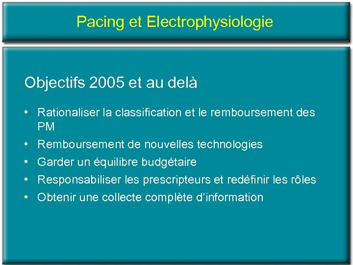 Pacing et Electrophysiologie Objectifs 2005 et au delà • Rationaliser la classification et le