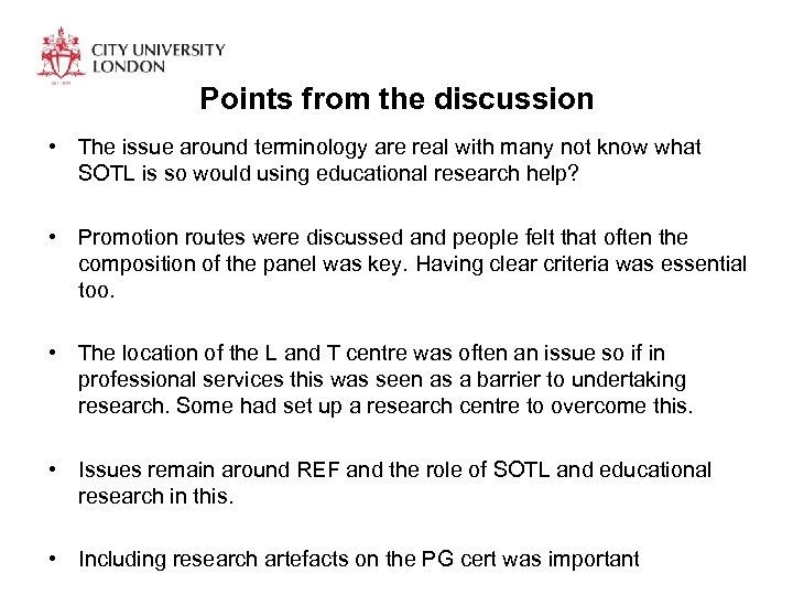 Points from the discussion • The issue around terminology are real with many not