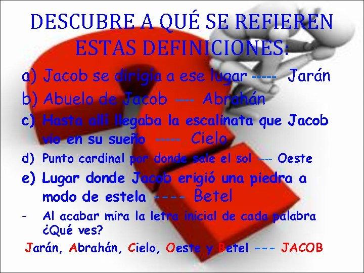 DESCUBRE A QUÉ SE REFIEREN ESTAS DEFINICIONES: a) Jacob se dirigía a ese lugar