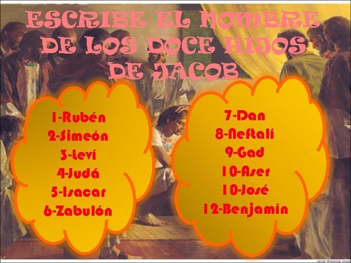 ESCRIBE EL NOMBRE DE LOS DOCE HIJOS DE JACOB 1 -Rubén 2 -Simeón 3