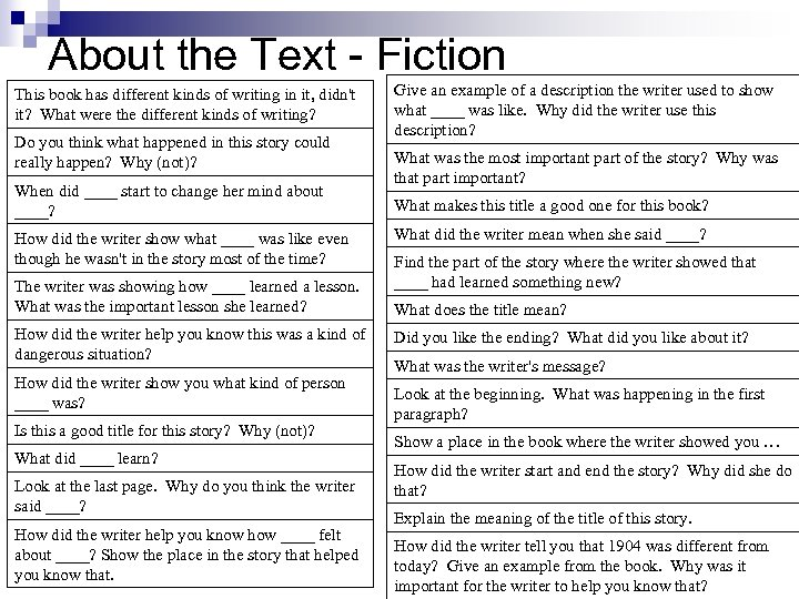 About the Text - Fiction This book has different kinds of writing in it,