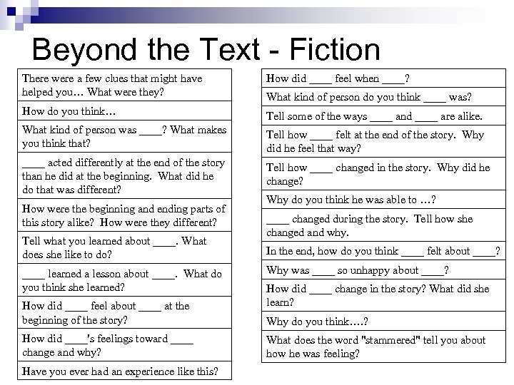 Beyond the Text - Fiction There were a few clues that might have helped