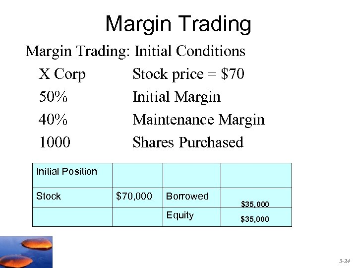 Margin Trading: Initial Conditions X Corp Stock price = $70 50% Initial Margin 40%