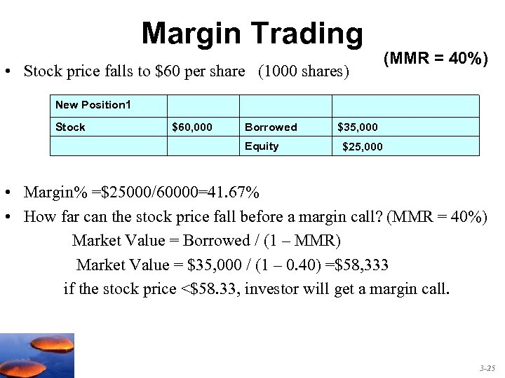 Margin Trading • Stock price falls to $60 per share (1000 shares) (MMR =