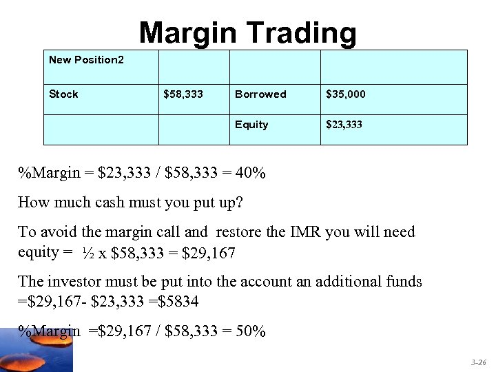 Margin Trading New Position 2 Stock $58, 333 Borrowed $35, 000 Equity $23, 333