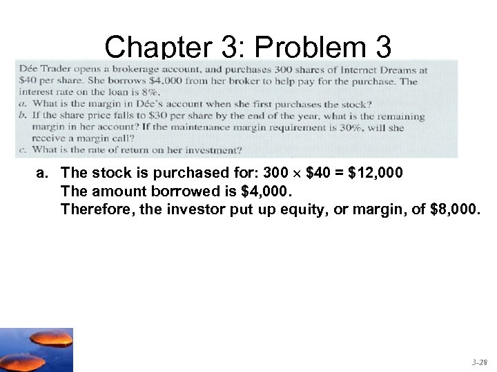 Chapter 3: Problem 3 a. The stock is purchased for: 300 $40 = $12,