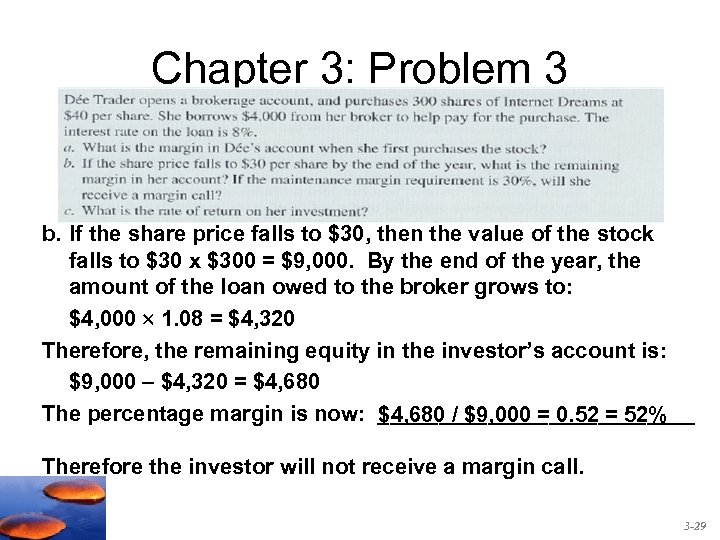 Chapter 3: Problem 3 b. If the share price falls to $30, then the