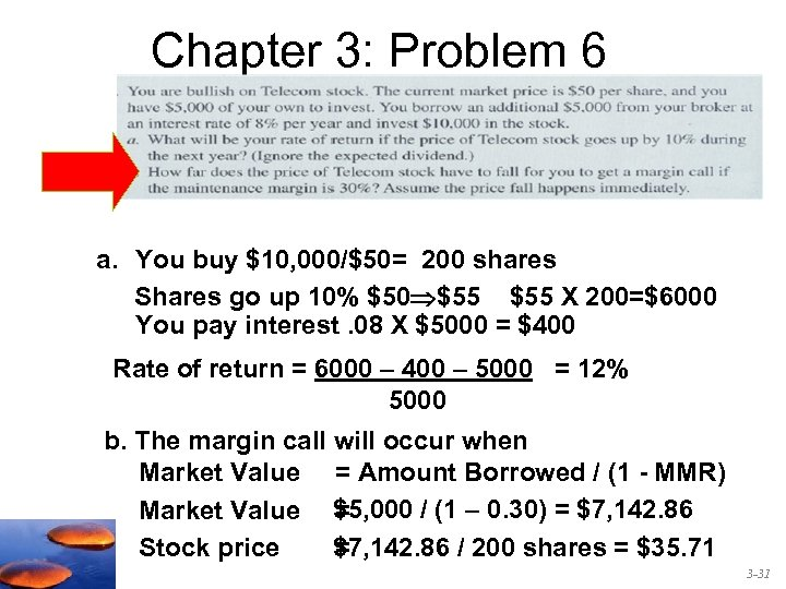 Chapter 3: Problem 6 a. You buy $10, 000/$50= 200 shares Shares go up