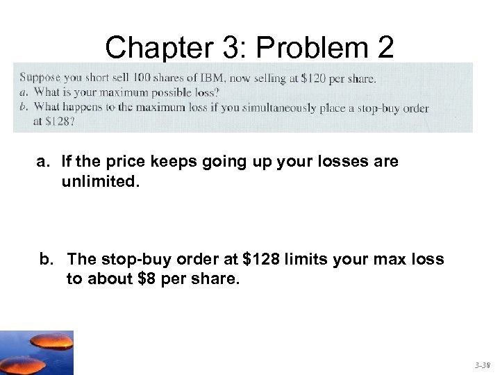 Chapter 3: Problem 2 a. If the price keeps going up your losses are