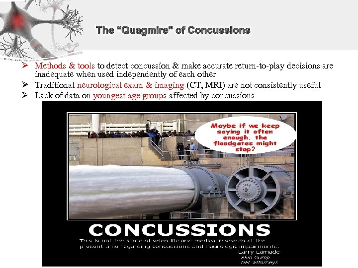 Ø Methods & tools to detect concussion & make accurate return-to-play decisions are inadequate