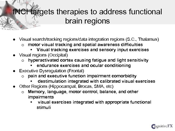 f. NCI targets therapies to address functional brain regions ● Visual search/tracking regions/data integration
