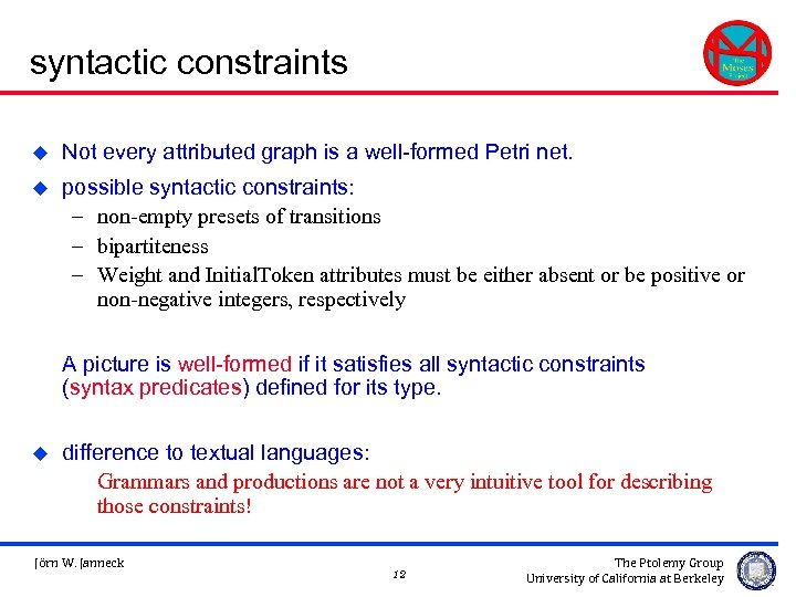 syntactic constraints u Not every attributed graph is a well-formed Petri net. u possible