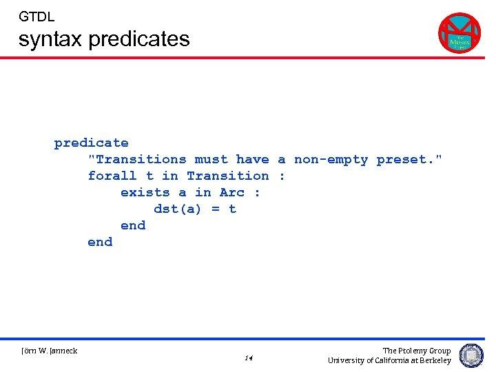 GTDL syntax predicates predicate