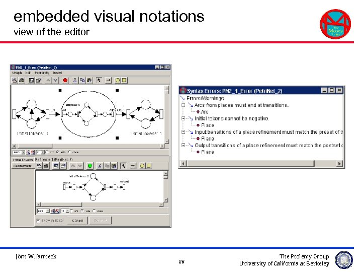 embedded visual notations view of the editor Jörn W. Janneck 25 The Ptolemy Group