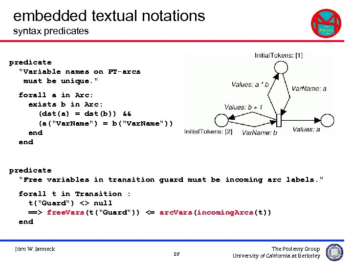embedded textual notations syntax predicates predicate