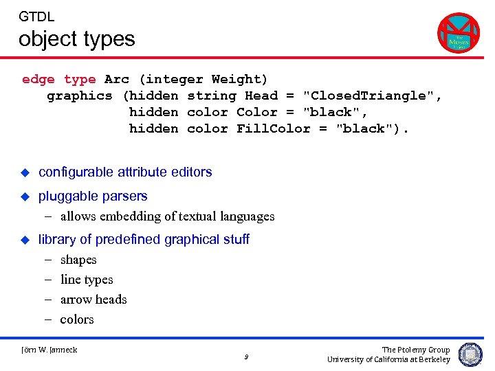 GTDL object types edge type Arc (integer Weight) graphics (hidden string Head =