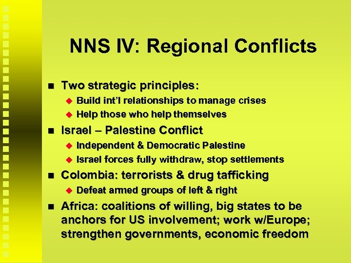 NNS IV: Regional Conflicts Two strategic principles: Israel – Palestine Conflict Independent & Democratic