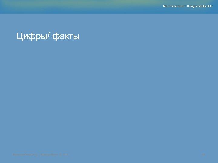 Title of Presentation – Change in Master Slide Цифры/ факты Manpower. Group | Monday,