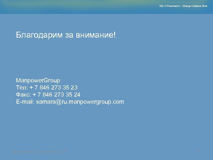 Title of Presentation – Change in Master Slide Благодарим за внимание! Manpower. Group Тел: