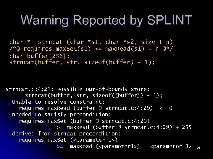 Warning Reported by SPLINT char * strncat (char *s 1, char *s 2, size_t