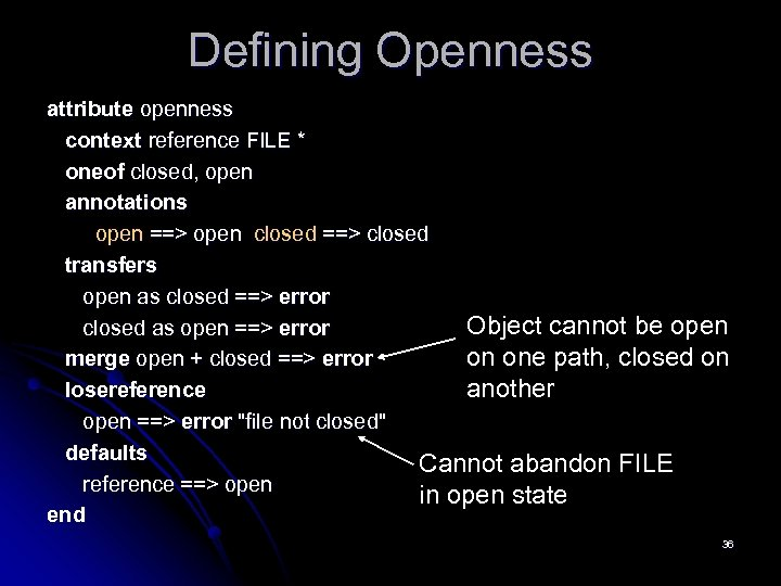 Defining Openness attribute openness context reference FILE * oneof closed, open annotations open ==>