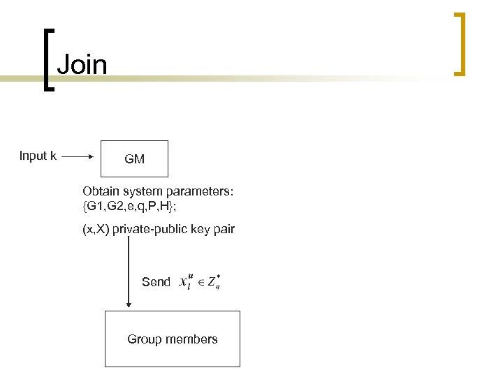 Join Input k GM Obtain system parameters: {G 1, G 2, e, q, P,