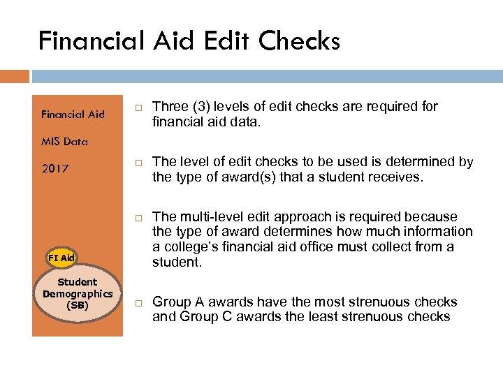 Financial Aid Edit Checks Financial Aid Three (3) levels of edit checks are required
