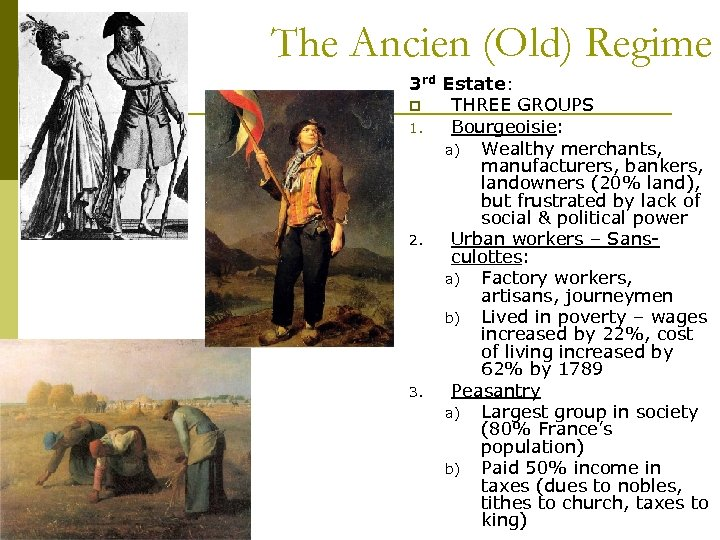 The Ancien (Old) Regime 3 rd Estate: p THREE GROUPS 1. Bourgeoisie: a) Wealthy