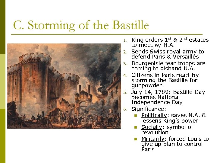C. Storming of the Bastille 1. 2. 3. 4. 5. 6. King orders 1