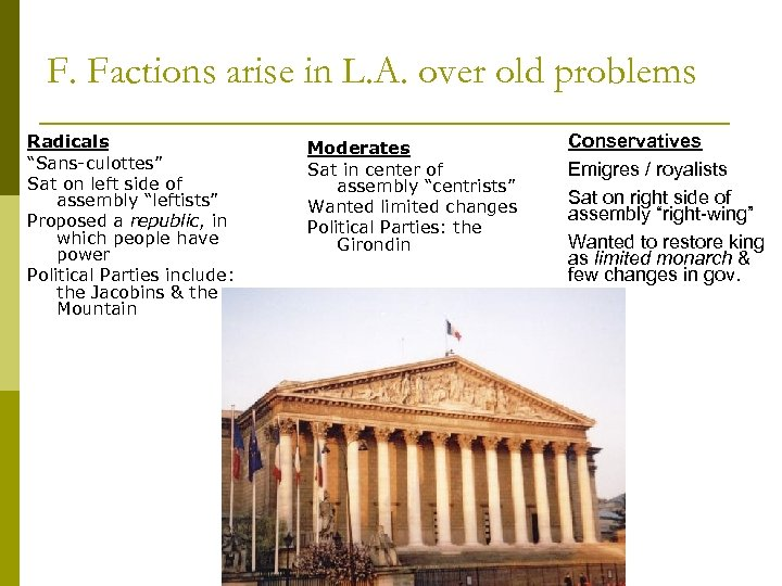 """F. Factions arise in L. A. over old problems Radicals """"Sans-culottes"""" Sat on left"""