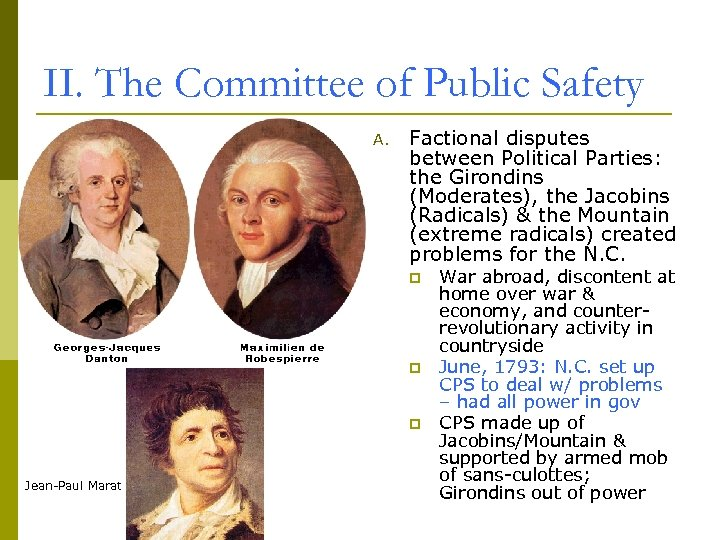 II. The Committee of Public Safety A. Factional disputes between Political Parties: the Girondins
