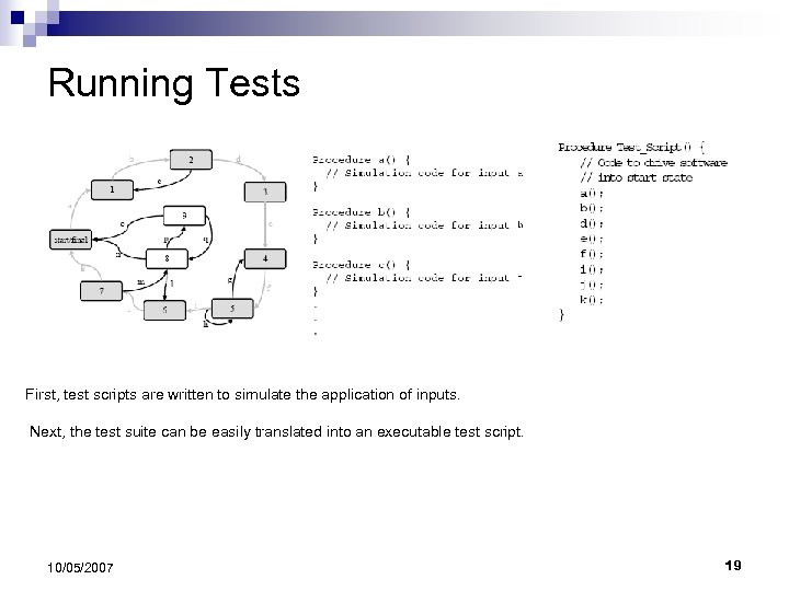 Running Tests First, test scripts are written to simulate the application of inputs. Next,