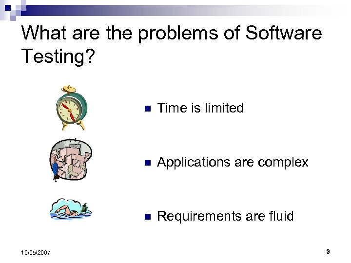 What are the problems of Software Testing? n n Applications are complex n 10/05/2007