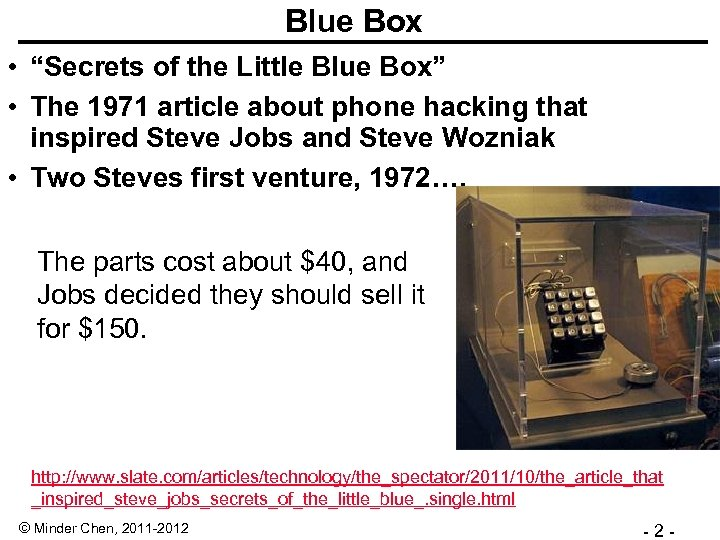 "Blue Box • ""Secrets of the Little Blue Box"" • The 1971 article about"