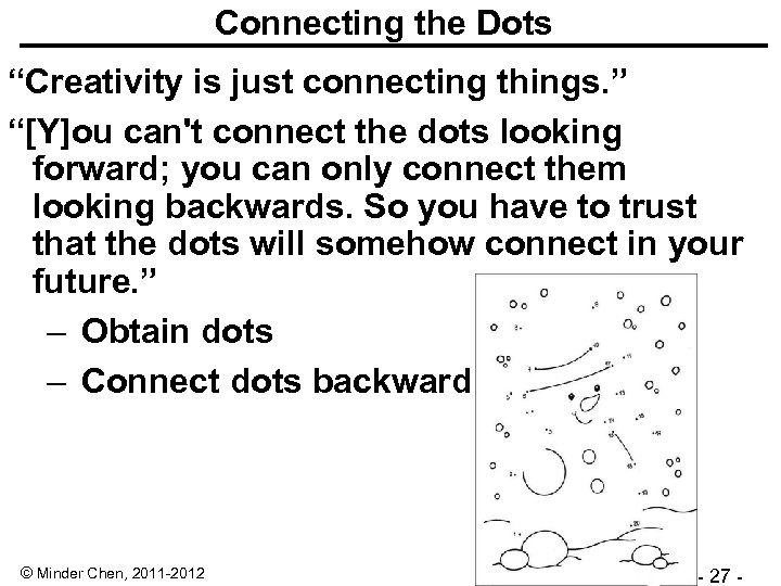 "Connecting the Dots ""Creativity is just connecting things. "" ""[Y]ou can't connect the dots"