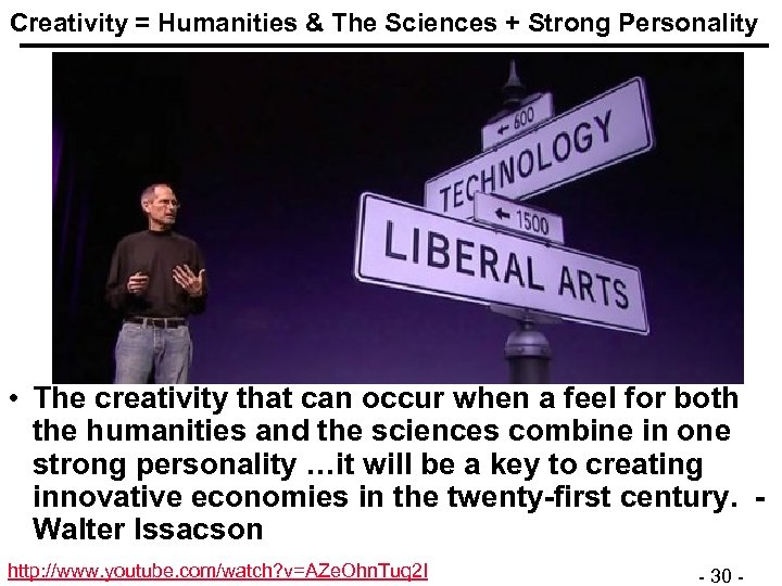 Creativity = Humanities & The Sciences + Strong Personality • The creativity that can