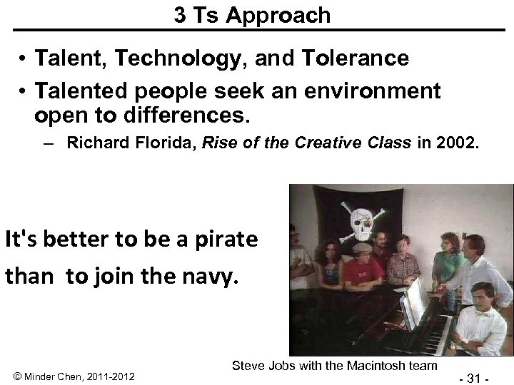 3 Ts Approach • Talent, Technology, and Tolerance • Talented people seek an environment