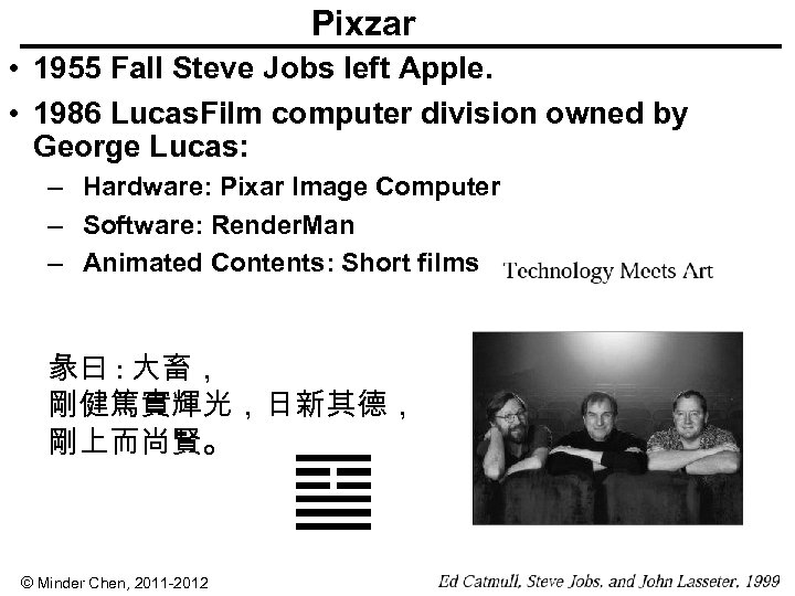 Pixzar • 1955 Fall Steve Jobs left Apple. • 1986 Lucas. Film computer division