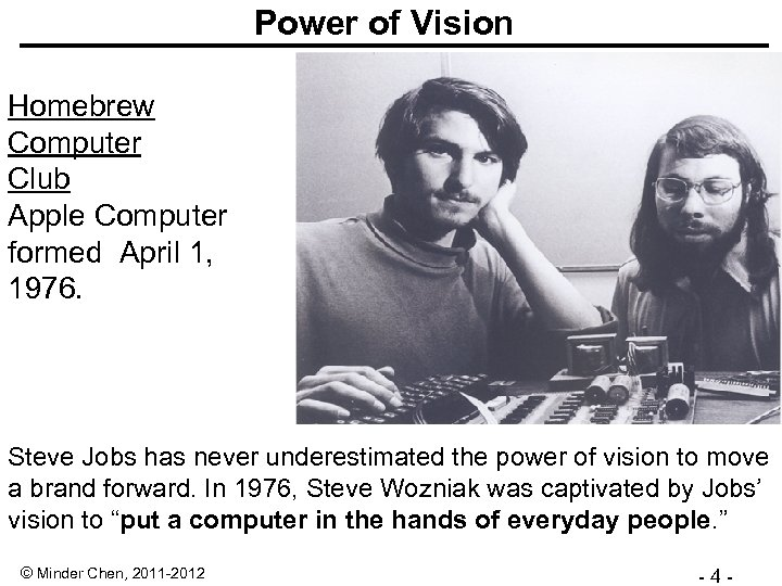 Power of Vision Homebrew Computer Club Apple Computer formed April 1, 1976. Steve Jobs